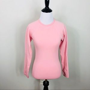 Nike Textured Long Sleeve Pink Active Fitness Top
